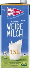 Hansano Weide H-Milch 1,5 % Fett - 1 x 1 l Packung